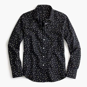 J. Crew perfect shirt in gold foil dot
